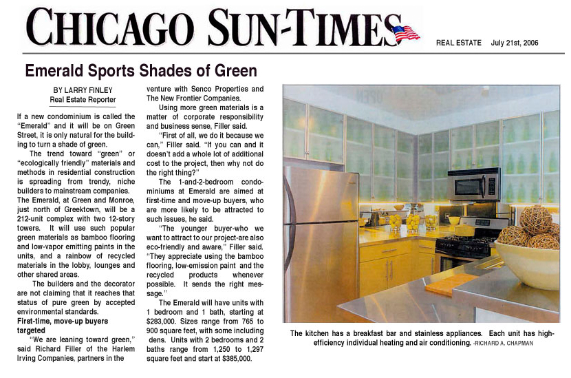 July 21, 2006 - Emerald Sports Shades of GreenChicago Sun Times