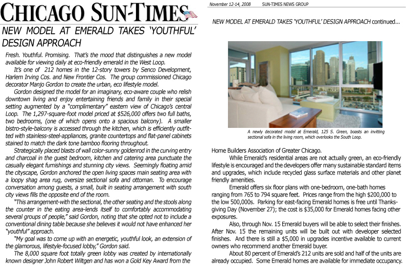 November 12, 2008 - Emerald Takes A Youthful Design Chicago-Sun Times, Today's New Homes