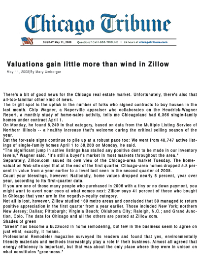 May 11, 2008 - Valuations Gain Little More Than Wind In Zillow Chicago Tribune