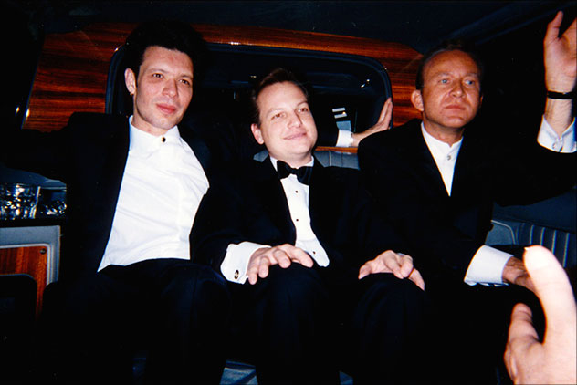 Jeff Meyer, William Senne, and John Robert Wiltgen on the way to the 1998 Chicago International Film Festival Gala honoring John Travolta with a Lifetime Achievement Award.