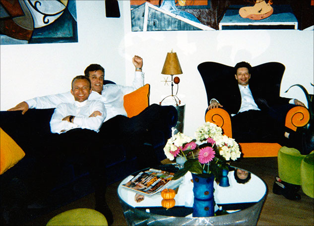 John Robert Wiltgen, actor Bobby Cooper, and Jeff Meyer relax at Bill Senne's home after the Film Festival Gala.