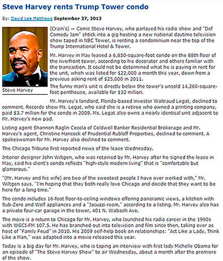 Steve Harvey Rents At Trump Tower Condo