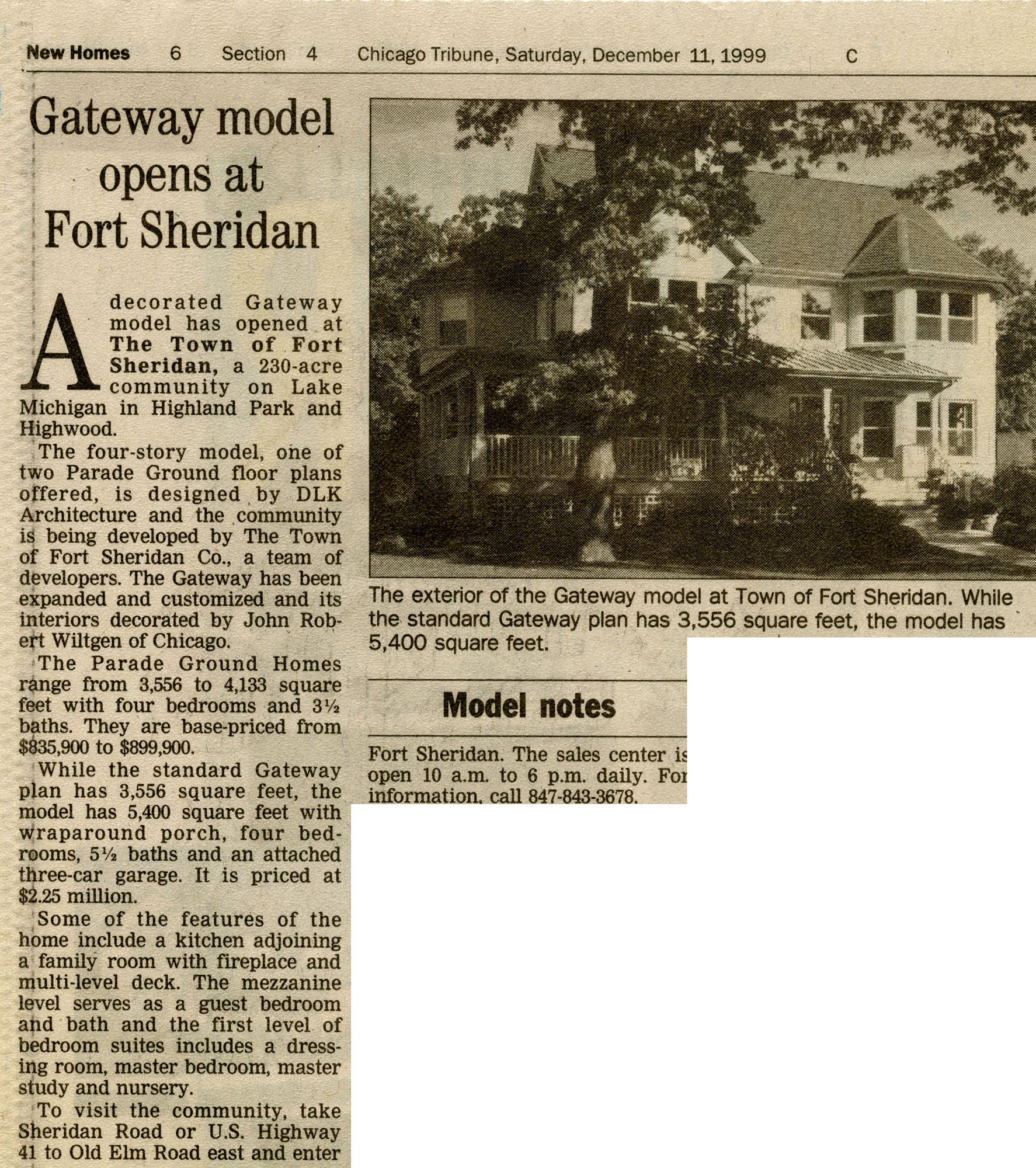 dec11,99 Chicago tribune- Gateway Model Opens at Fort Sheridan