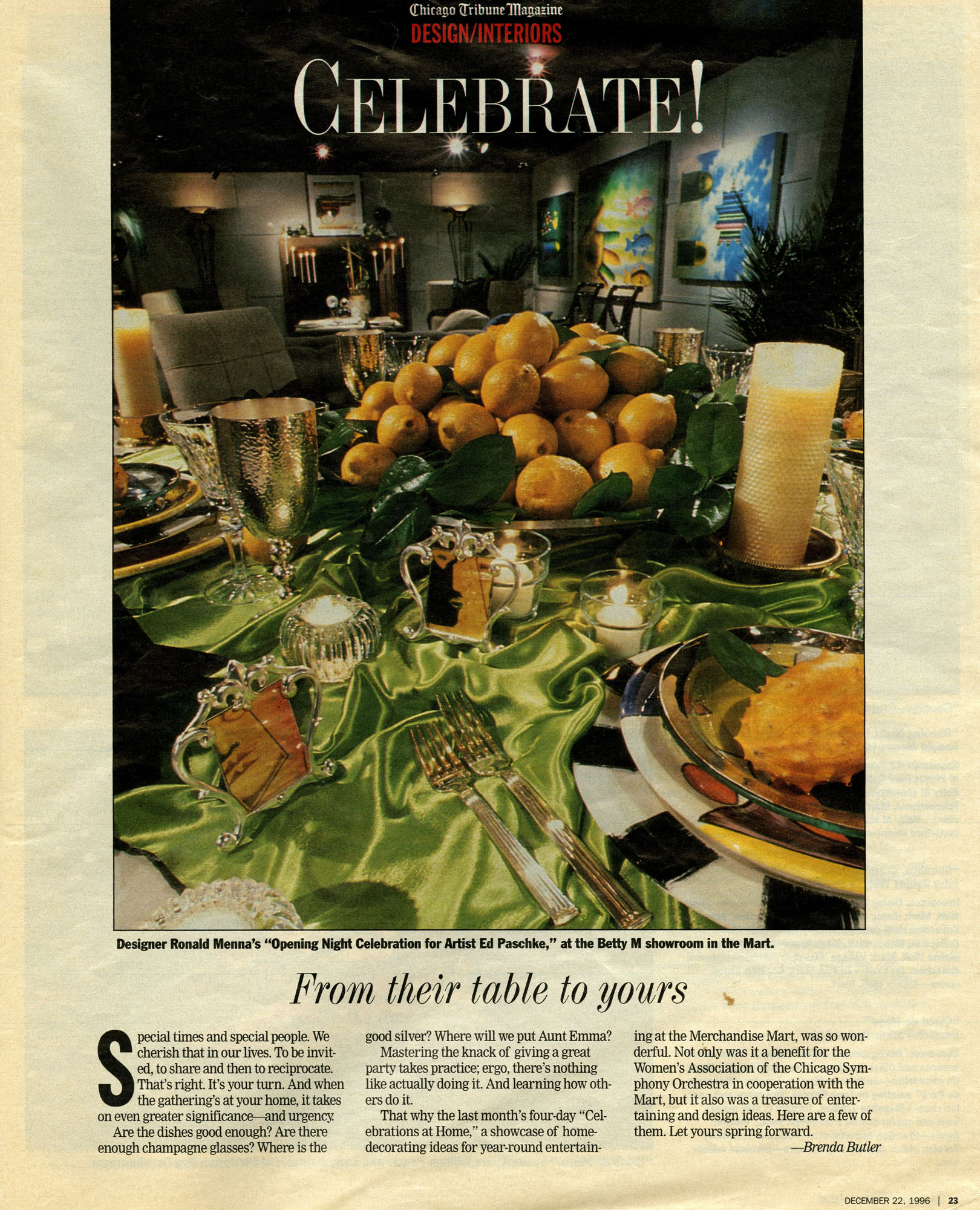 dec22,1996 chicago tribune magazine- From Their Table to Yours