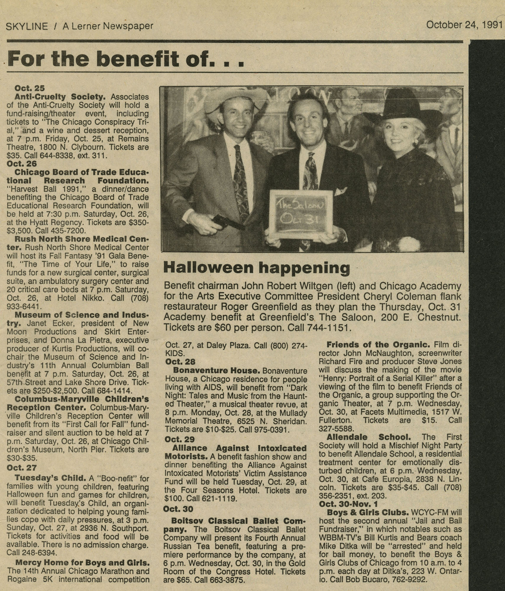october24,1991 skyline, a lerner newspaper- For the benefit of...