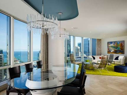 Award winning interior design by John Robert Wiltgen Design, Inc at Trump Tower Chicago - Chicago Interior Design