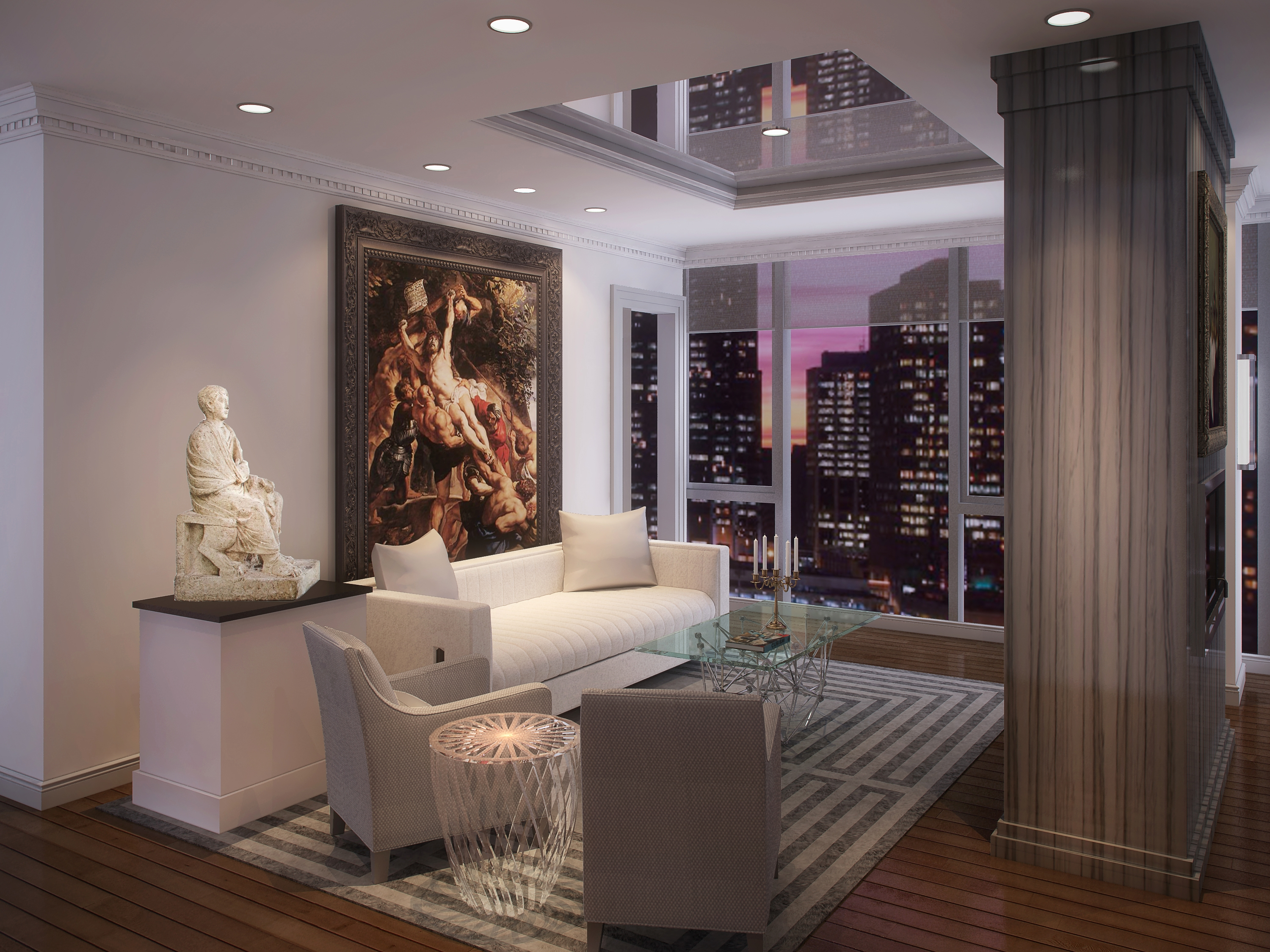 Chicago Luxury - 4 EAST ELM- LAYOUT 2 LIVING ROOM - HI-RES
