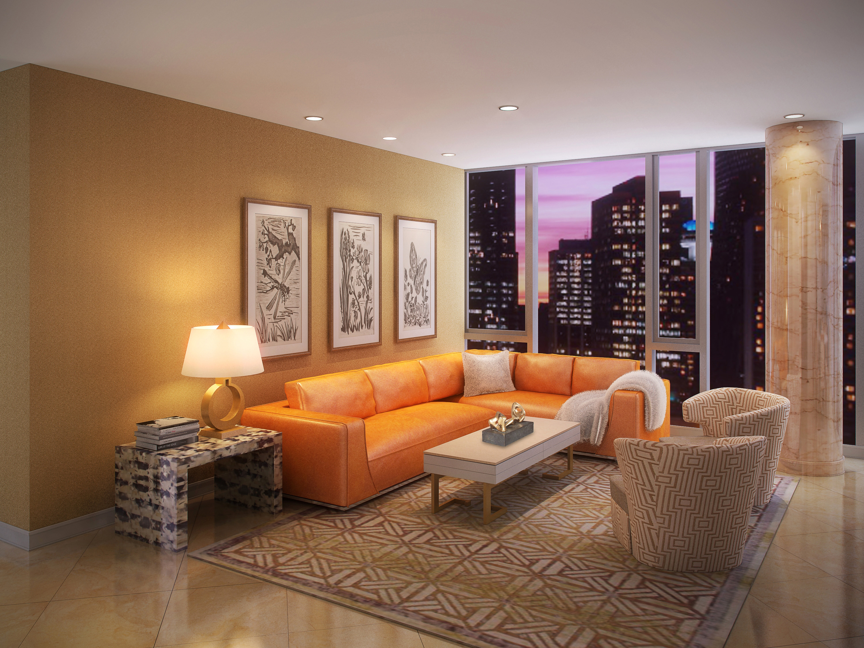 Chicago Luxury - 4 EAST ELM - LAYOUT 3 LIVING ROOM - HI-RES